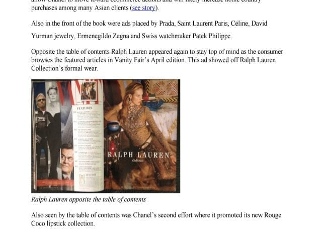 "Ralph Lauren Touts ""Objects of Desire"" in Ad Takeover of Vanity Fair's April Edition"